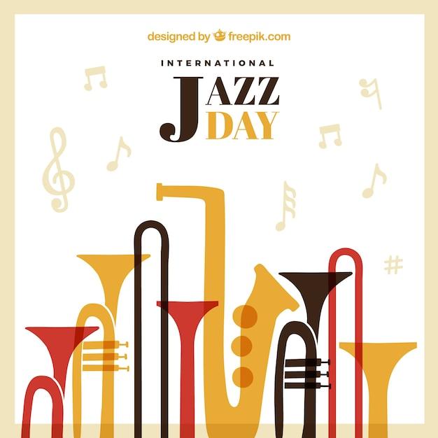 Vintage jazz achtergrond met muziekinstrumenten Gratis Vector