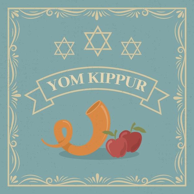 Vintage jom kippoer met hoorn en appels Gratis Vector