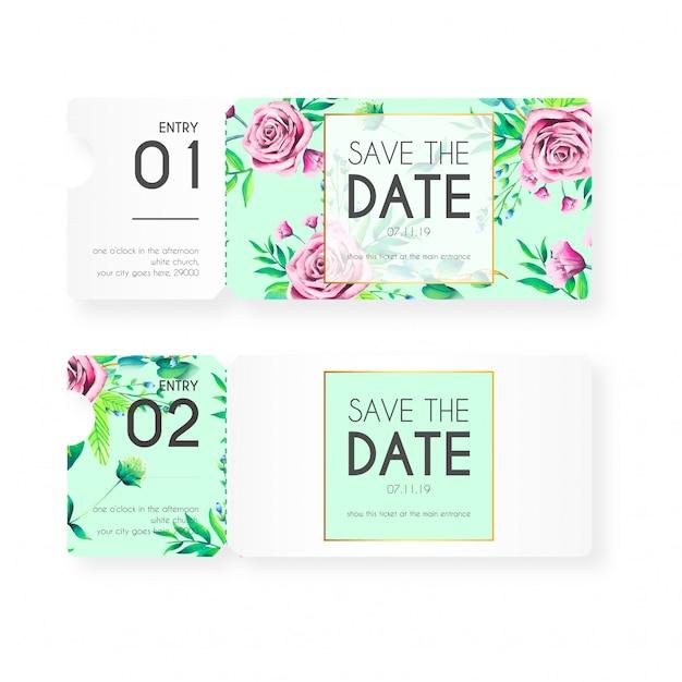 Vintage kaartjes voor bruiloft uitnodiging Gratis Vector