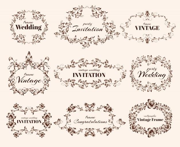 Vintage kalligrafische frames Gratis Vector