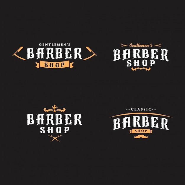 Vintage kapper logo's collectie Premium Vector
