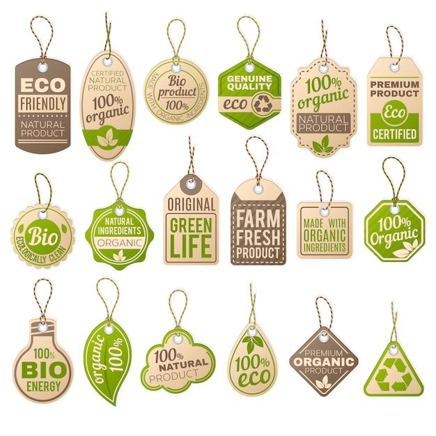 Vintage kartonnen eco prijskaartjes. winkel biologische bio-boerderij vector papieren etiketten. verkoop eco-tag, papier biologische label kartonnen illustratie Premium Vector
