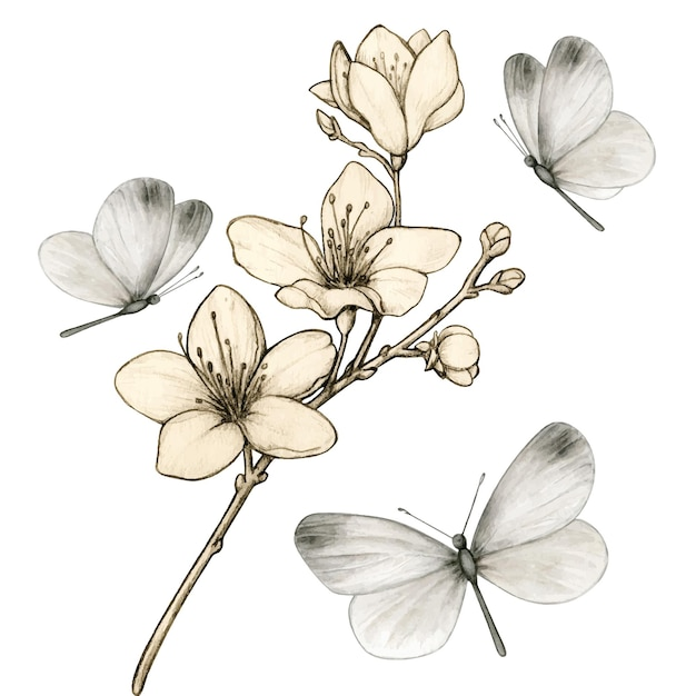 Vintage kersenbloesemtak omringd door grijze vlinders Premium Vector