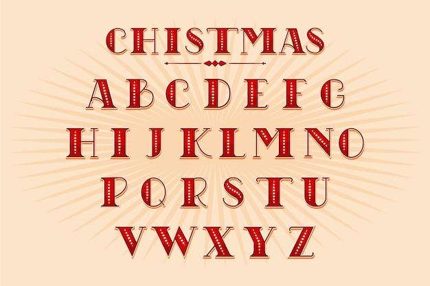 Vintage kerst alfabet pack Gratis Vector