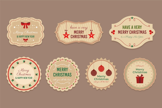 Vintage kerst badge collectie Gratis Vector