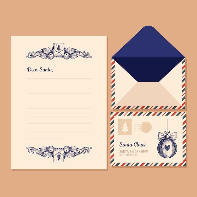Vintage kerst briefpapier sjabloon Gratis Vector