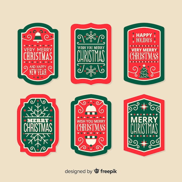 Vintage kerst labels pack Gratis Vector