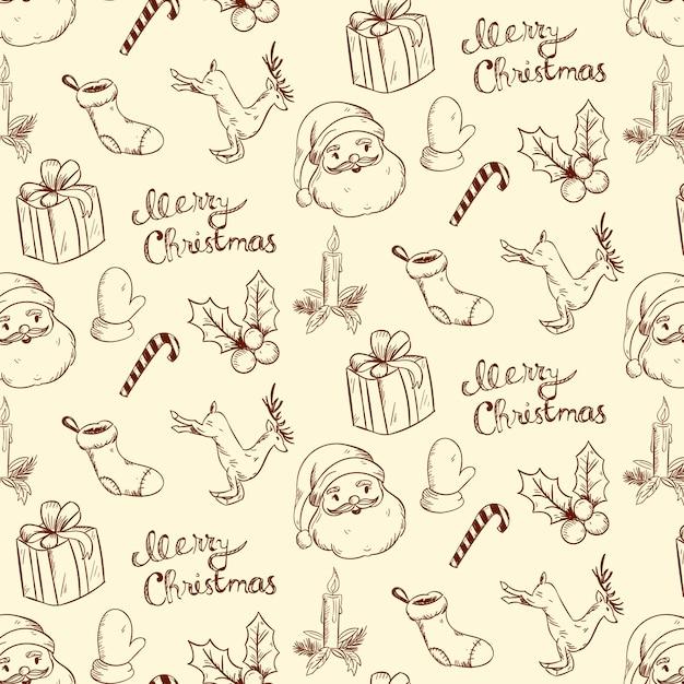 Vintage kerst patroon Gratis Vector