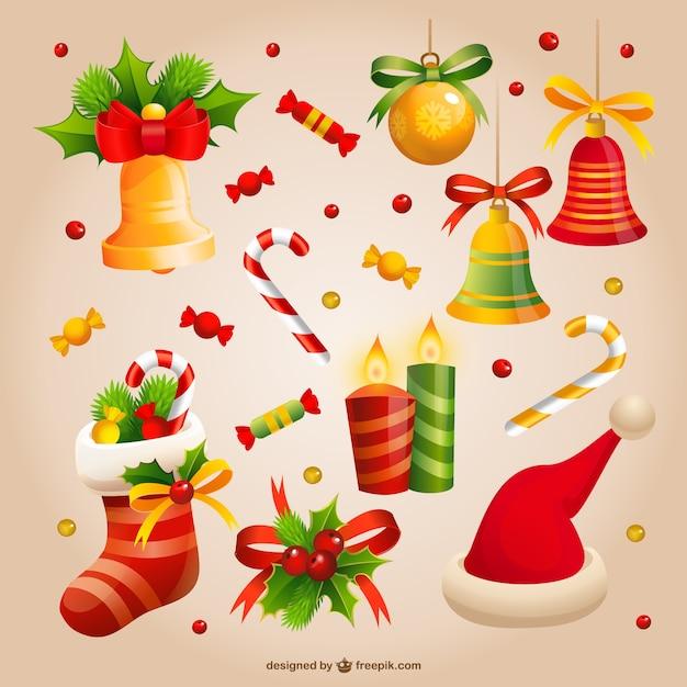 Vintage kerst snoep en decoratie vector gratis download for Decoratie nep snoep