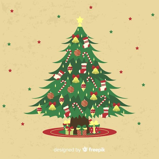Vintage kerstboom achtergrond Gratis Vector