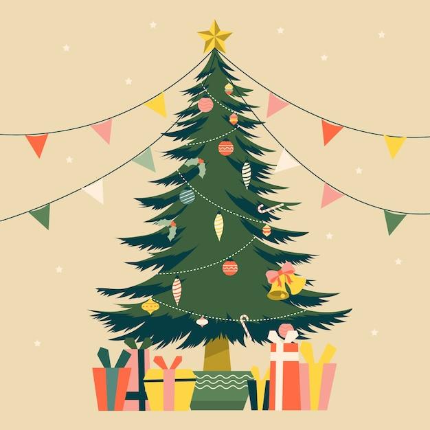 Vintage kerstboom illustratie Gratis Vector