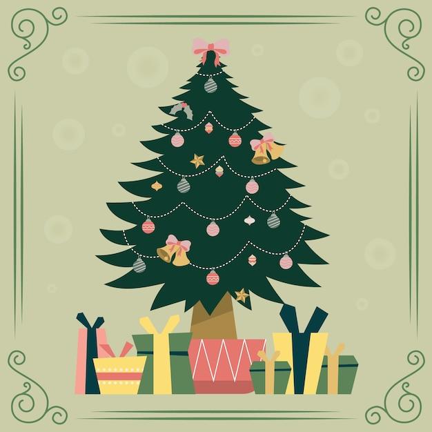 Vintage kerstboom met cadeautjes Gratis Vector