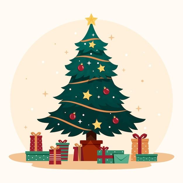 Vintage kerstboom met geschenken Gratis Vector