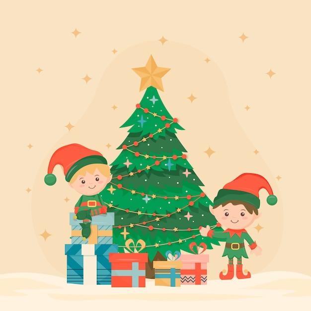 Vintage kerstboom traditie Gratis Vector