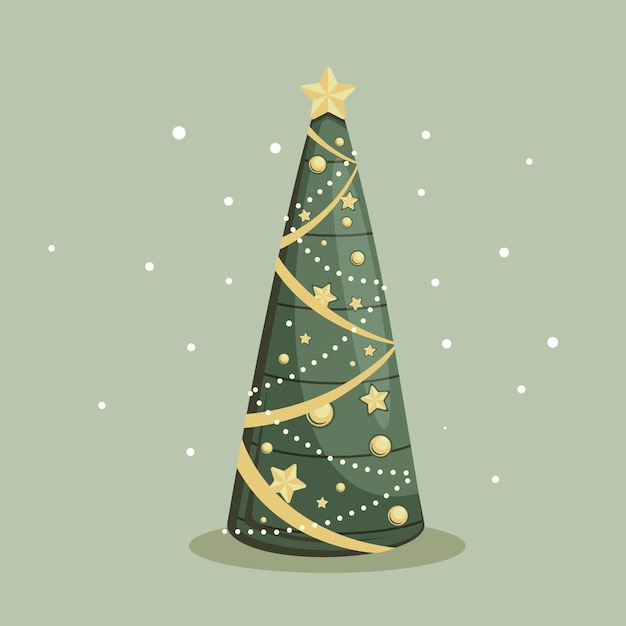 Vintage kerstboom Gratis Vector
