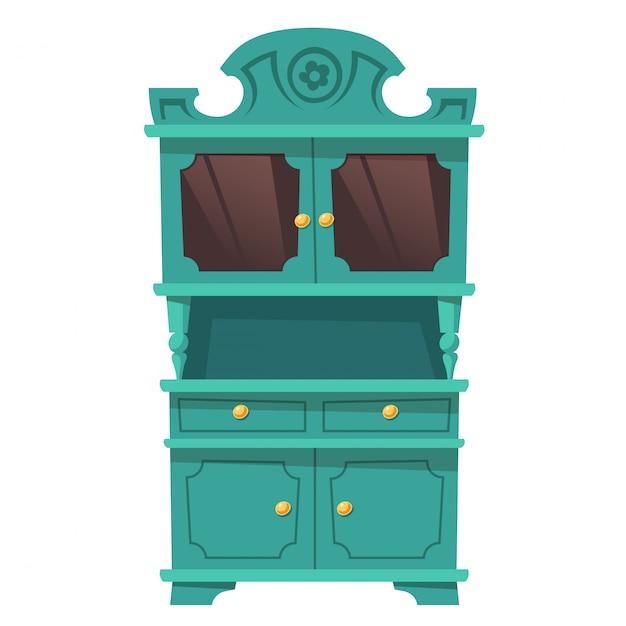Vintage keukenkast in barokstijl Gratis Vector