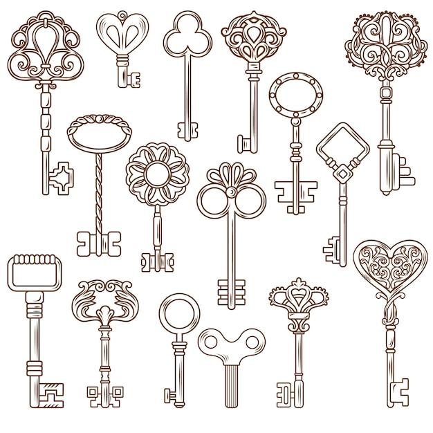 Vintage keys line works set Gratis Vector