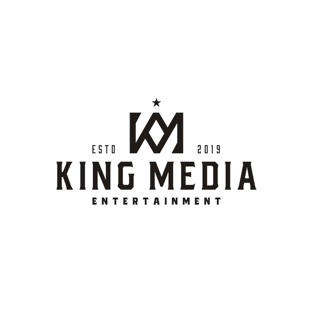 Vintage king crown letter km of km mk monogram logo Premium Vector