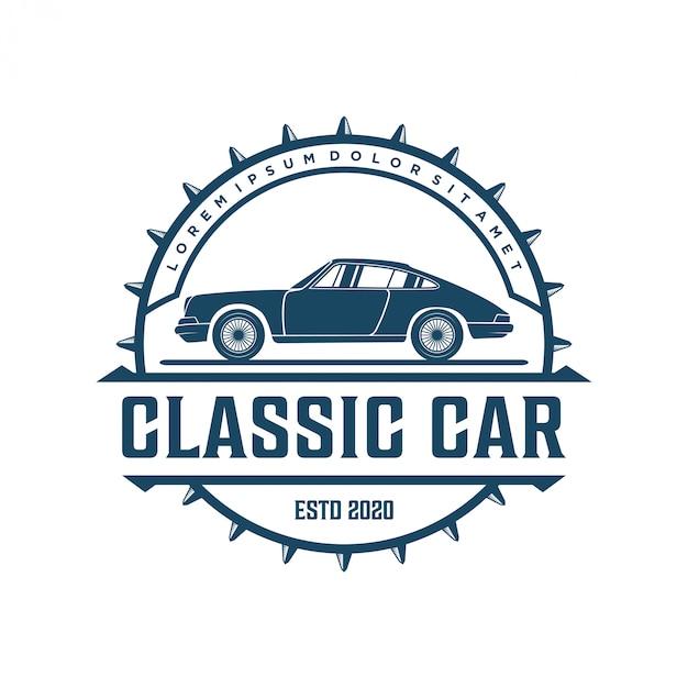 Vintage klassieke auto-logo's voor workshops of club Premium Vector