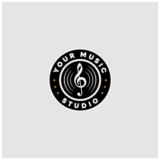 Vintage klassieke grammofoonmuziek vinyl record logo-ontwerp Premium Vector
