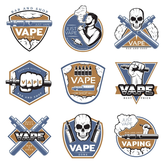 Vintage kleurrijk vape-logo Gratis Vector