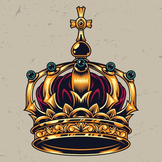 Vintage kleurrijke sierlijke koninklijke kroon concept Gratis Vector