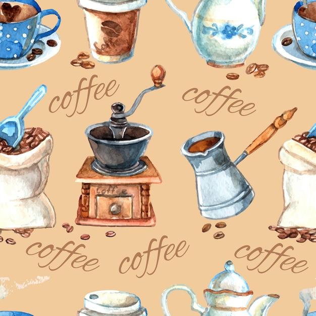 Vintage koffie set items naadloze patroon Gratis Vector