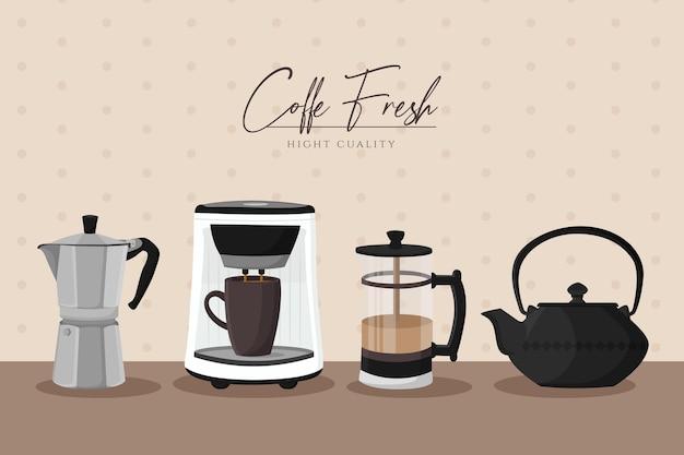 Vintage koffiezetmethoden ingesteld Gratis Vector