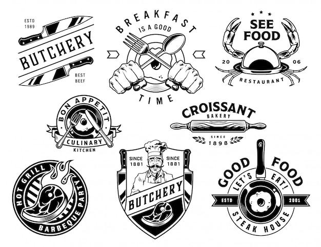 Vintage koken monochroom etiketten instellen Gratis Vector