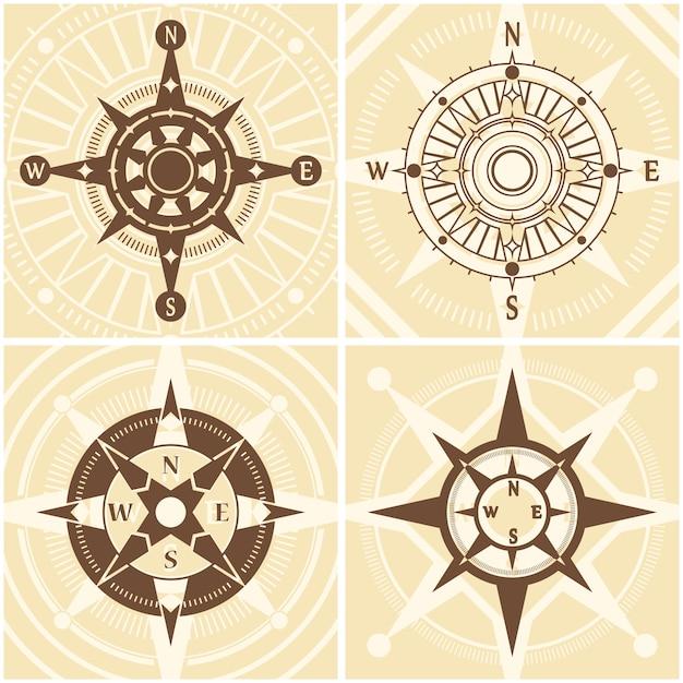Vintage kompas set Gratis Vector