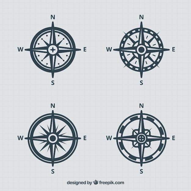 Vintage kompascollectie Gratis Vector