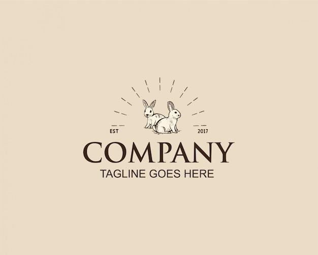 Vintage konijn logo ontwerp Premium Vector