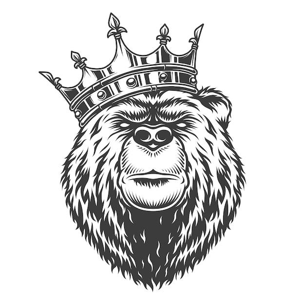 Vintage koninklijke beer hoofd in de kroon Gratis Vector