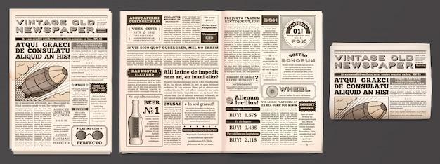 Vintage krantenmodel, retro krantenpapierpagina's, tabloidmagazine en oud nieuws geïsoleerd 3d-sjabloon Premium Vector