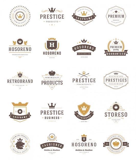 Vintage kronen logo's en emblemen setv ector designelementen Premium Vector
