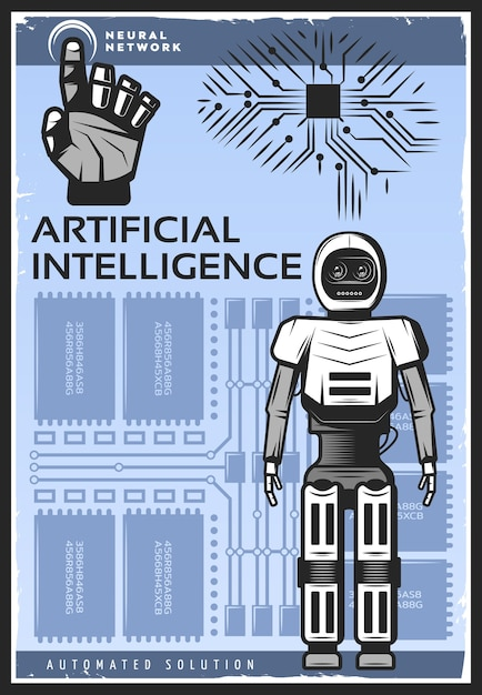Vintage kunstmatige intelligentie poster Gratis Vector