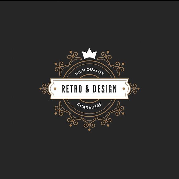 Vintage label badge logo sjabloon Premium Vector