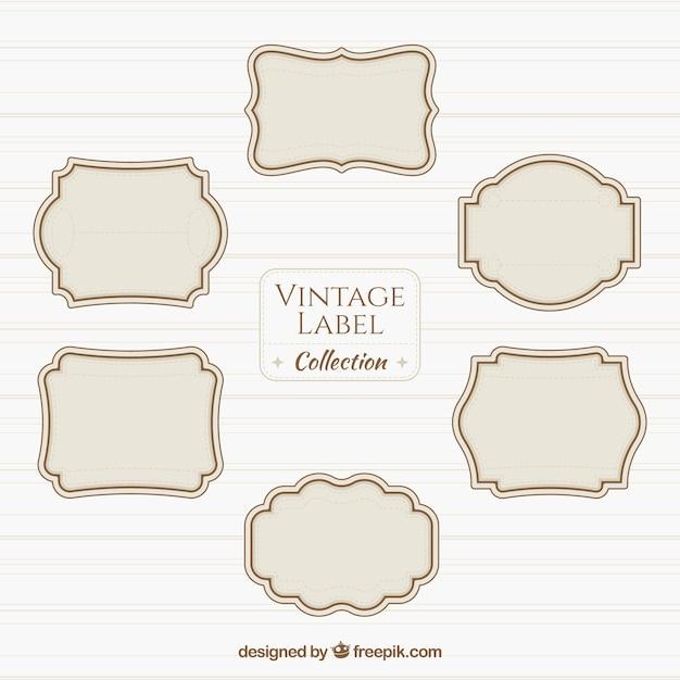 Vintage label collectie Gratis Vector