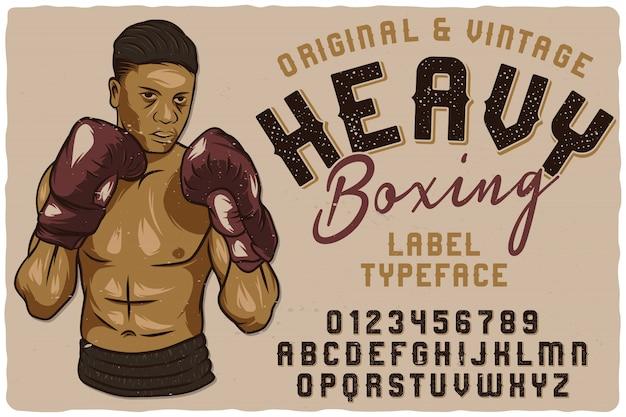 Vintage label lettertype genaamd heavy boxing. Premium Vector