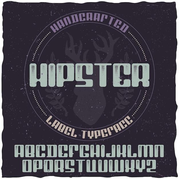 Vintage label lettertype genaamd hipster. Gratis Vector