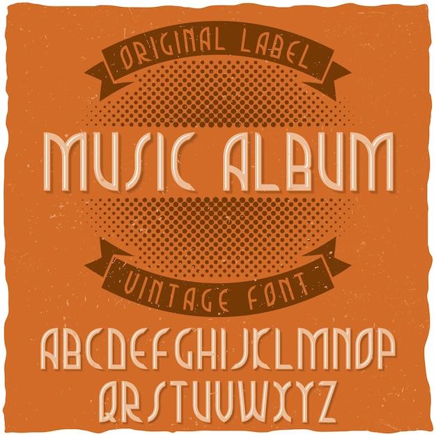 Vintage label lettertype genaamd music album. Gratis Vector