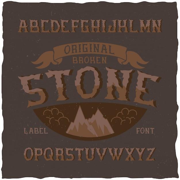 Vintage label lettertype genaamd stone. goed lettertype om te gebruiken in vintage labels of logo. Gratis Vector