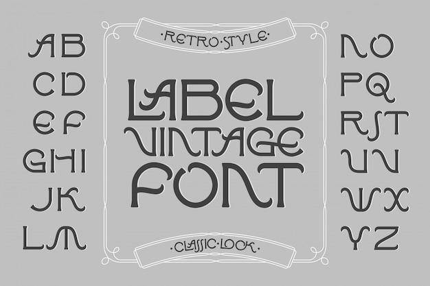 Vintage label lettertype met decoratief frame Premium Vector
