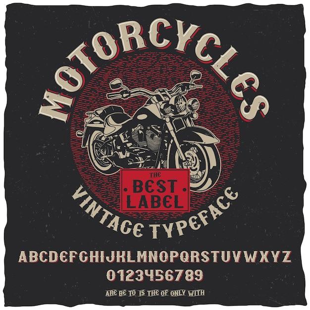 Vintage label lettertype motorfietsen poster met eenvoudig labelontwerp met handgetekende fiets Gratis Vector