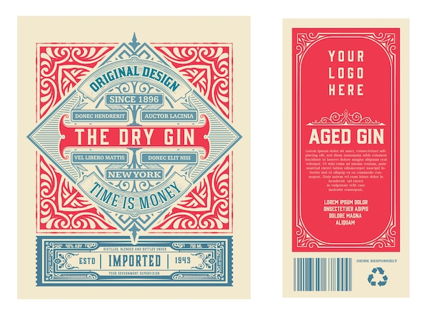 Vintage label met gin liquor design Premium Vector