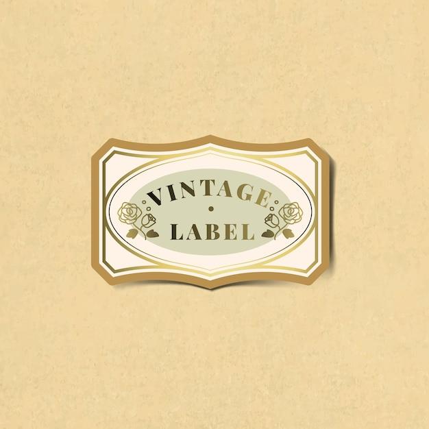 Vintage label sticker versierd met rozen vector Gratis Vector