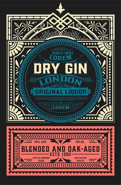 Vintage label voor drankontwerp Premium Vector
