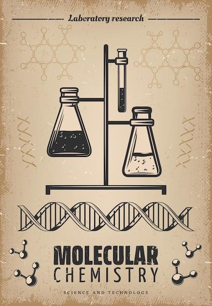 Vintage laboratoriumonderzoek poster met glazen buizen kolven dna en moleculaire structuur Gratis Vector