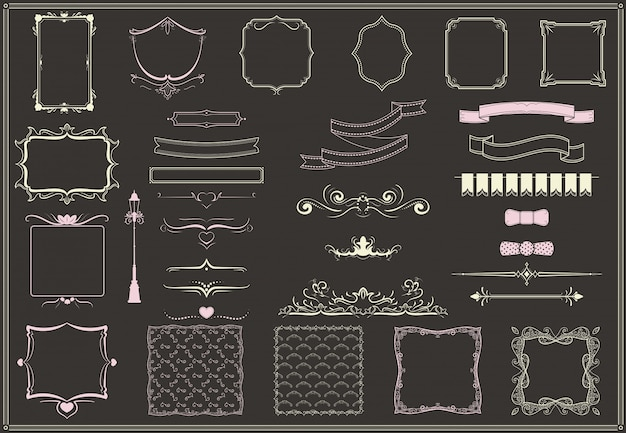 Vintage lege decoratieve elementen collectie Gratis Vector