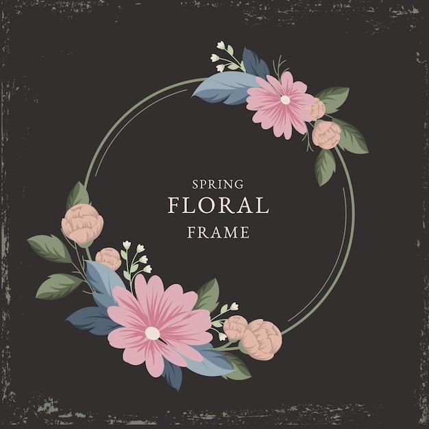 Vintage lente bloemen frame Gratis Vector